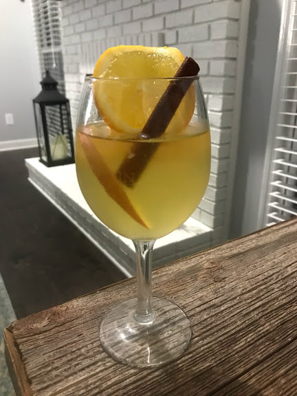Thanksgiving Dinner Appetizer Apple Cider Sangria with gluten-free and dairy-free recipes by Elena McCown, LLC a health coach in Franklin, TN