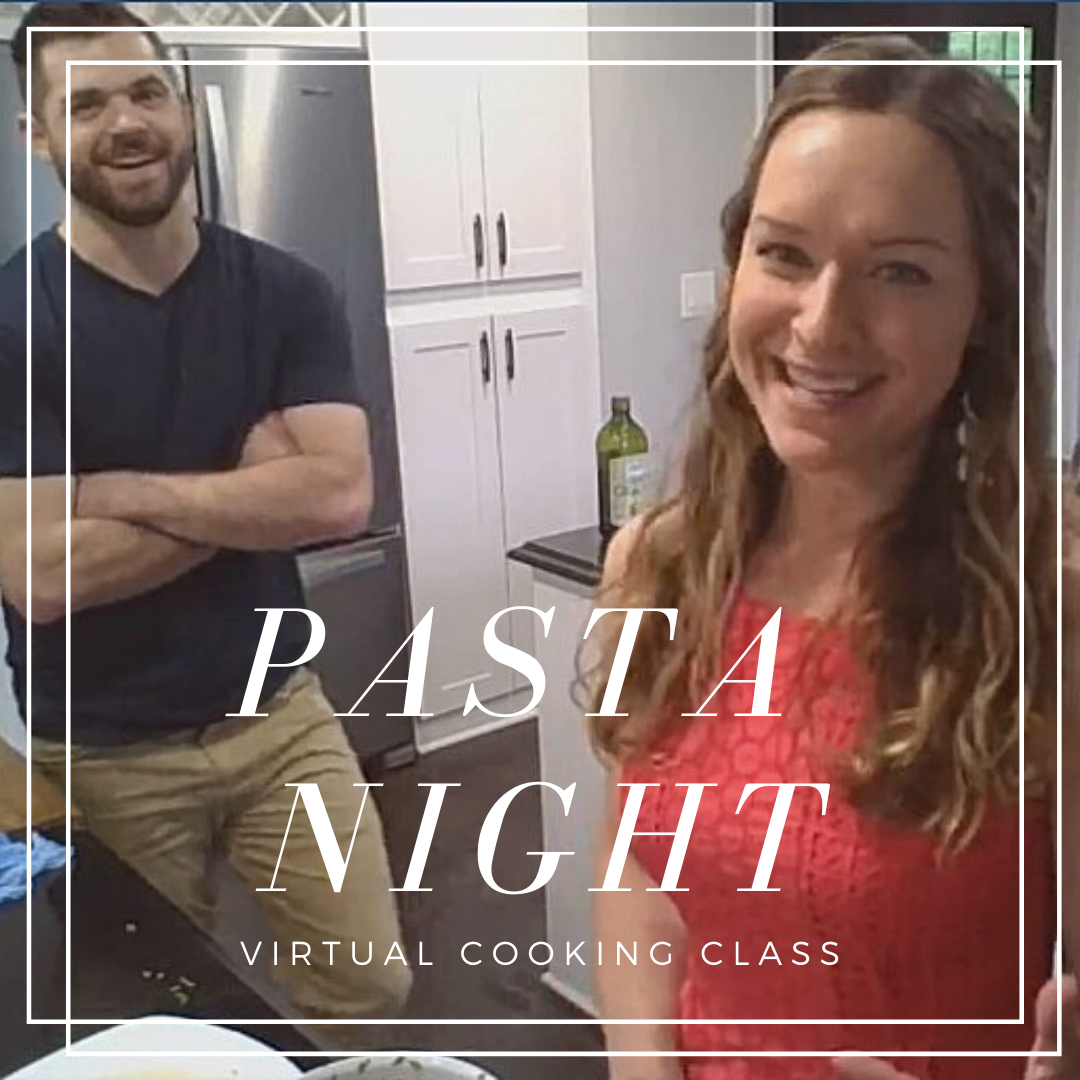 Pasta Night Virtual Cooking Class: naturally dairy free, vegan with gluten-free options, spinach artichoke stuffed shells recipe by Elena McCown, LLC a health coach in Franklin, TN