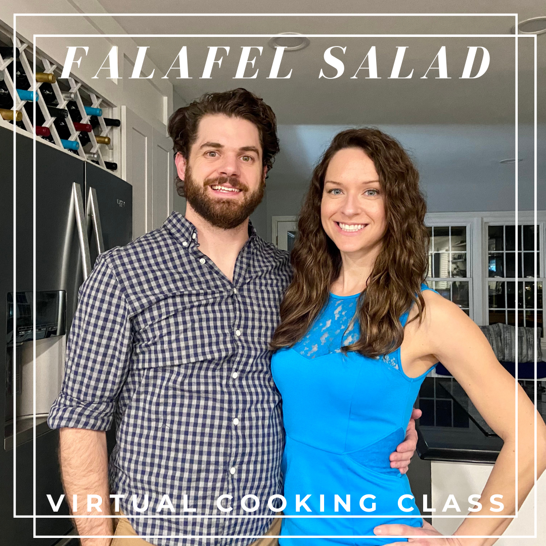 Falafel Salad Virtual Cooking Class, gluten free and dairy free recipes for falalfel, Greek salad, tzatziki and hummus by Elena McCown, LLC a health coach in Franklin, TN